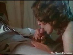Curly hair girl laid in hot retro movie